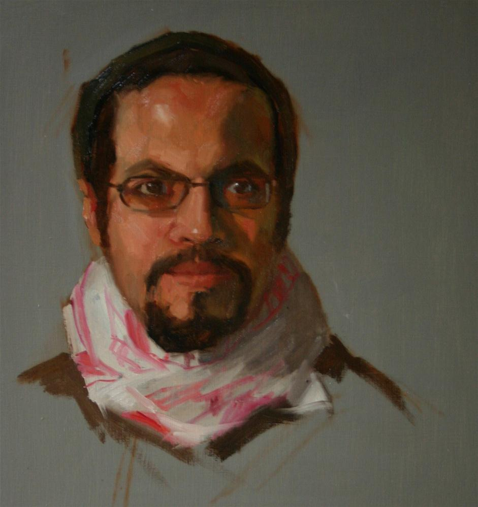 """Oil sketch of Samir"" original fine art by Liz Balkwill"