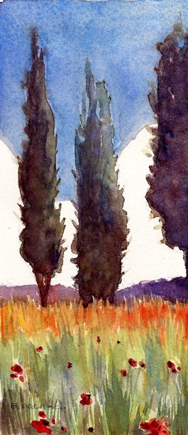 """Watercolor: Provence Cypress (& managing ego in the studio)"" original fine art by Belinda Del Pesco"