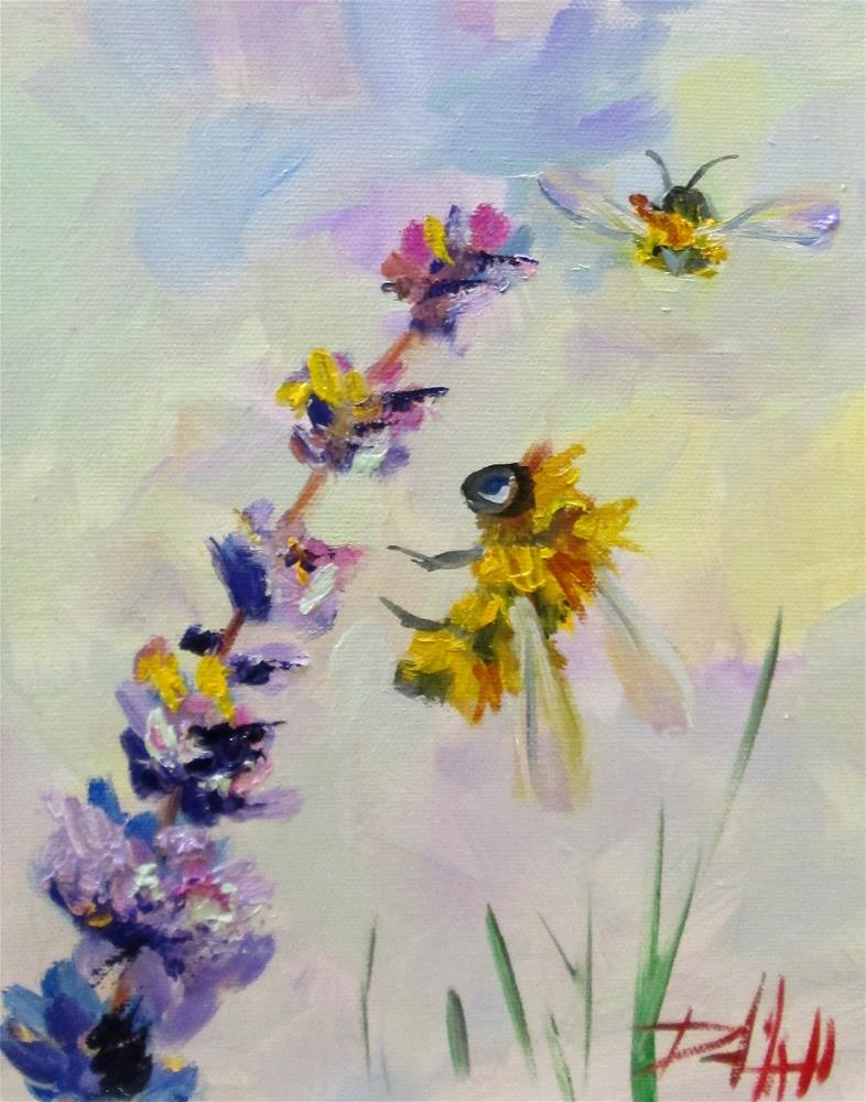 """Bee and Lavender No.7"" original fine art by Delilah Smith"