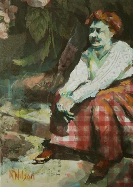 """Red Check Skirt"" original fine art by Katie Wilson"