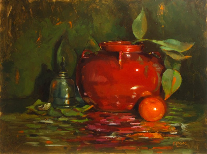 """Mandarin and red pot"" original fine art by Dave Froude"