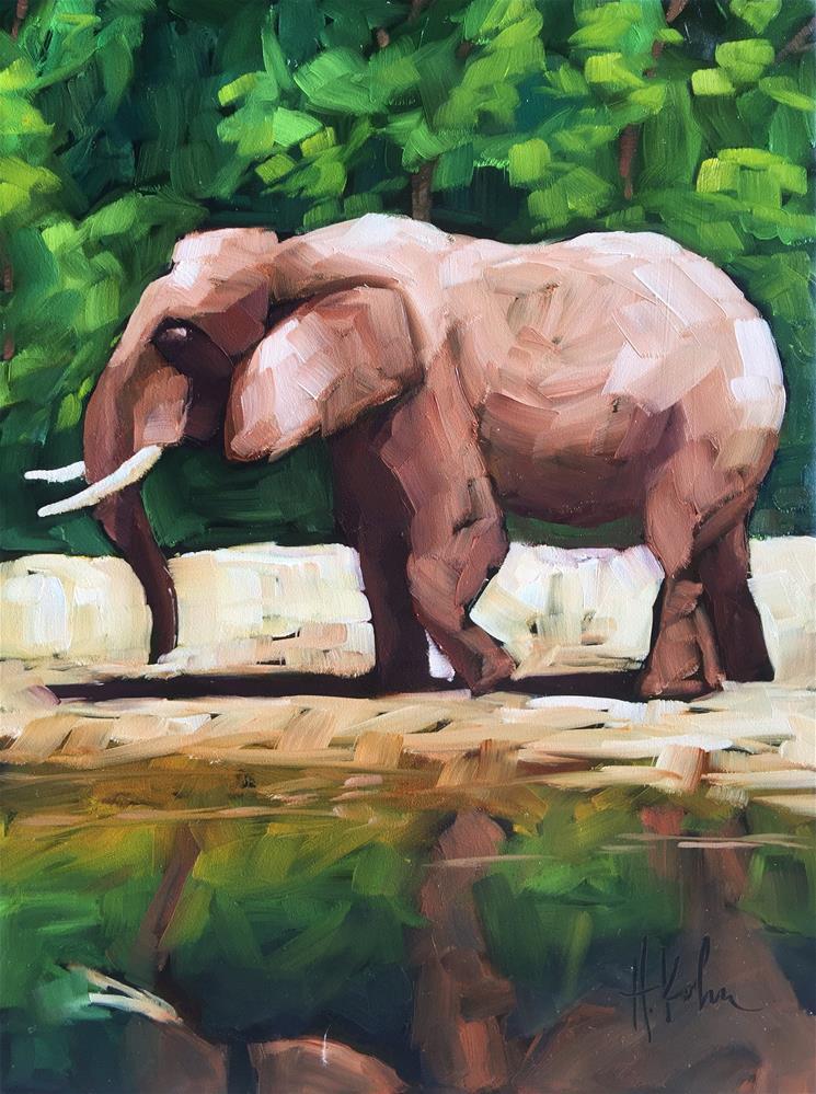 """Elephant Reflecting"" original fine art by Hallie Kohn"
