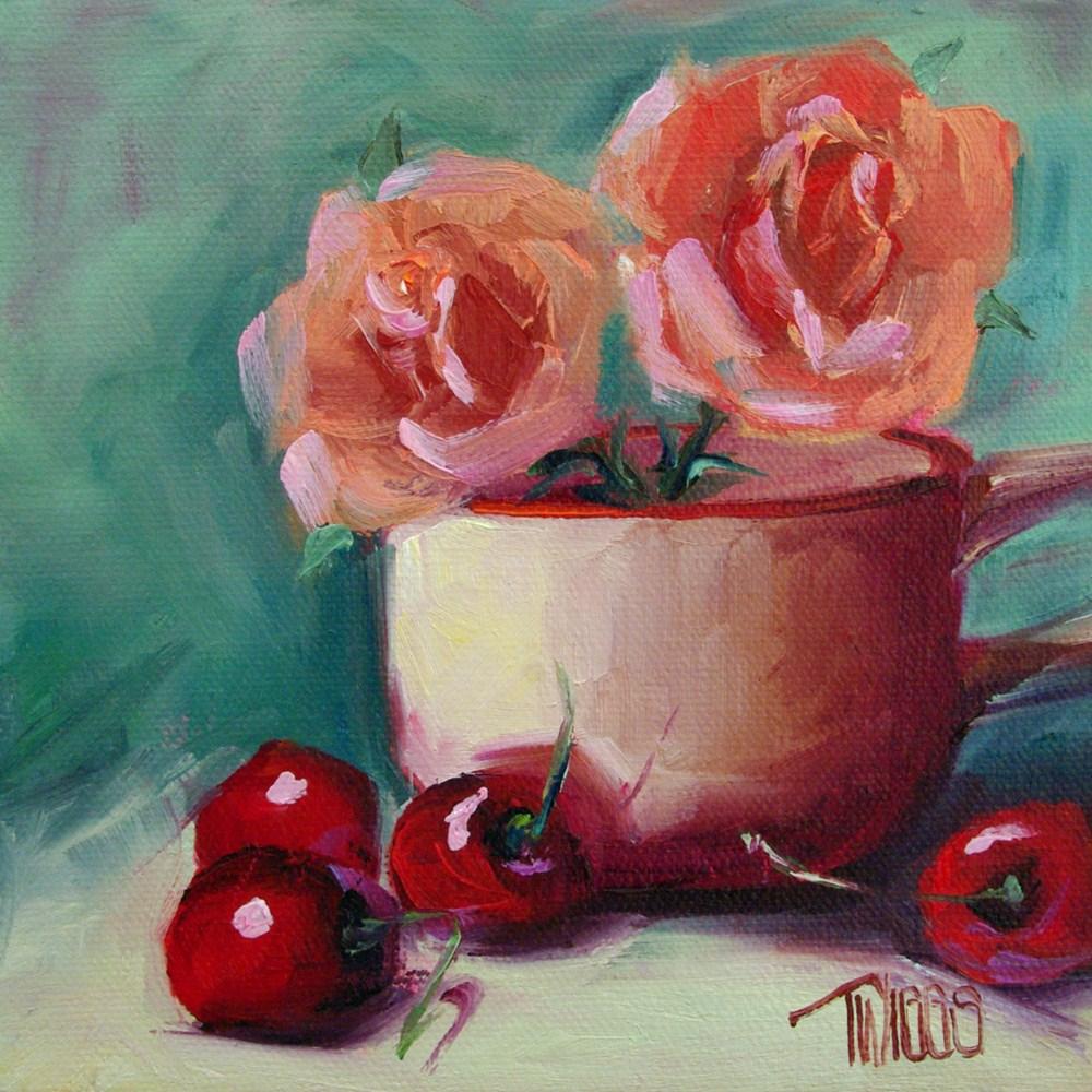 """Cup O' Roses"" original fine art by Lori Twiggs"