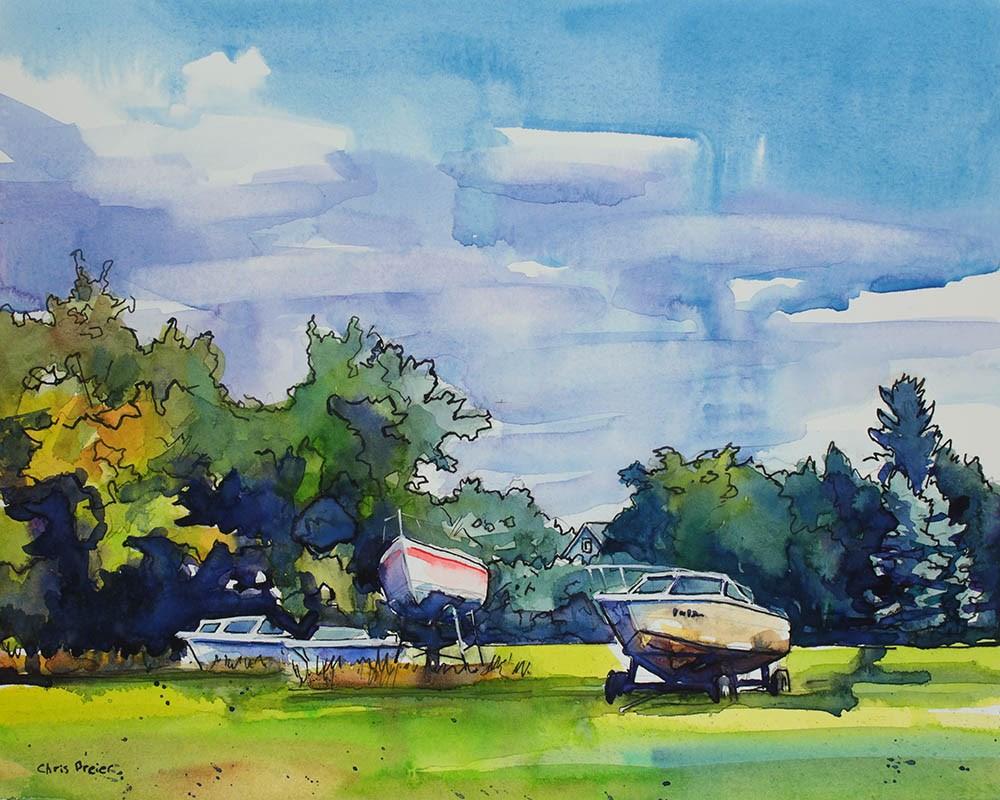 """Country Boats"" original fine art by Chris Breier"