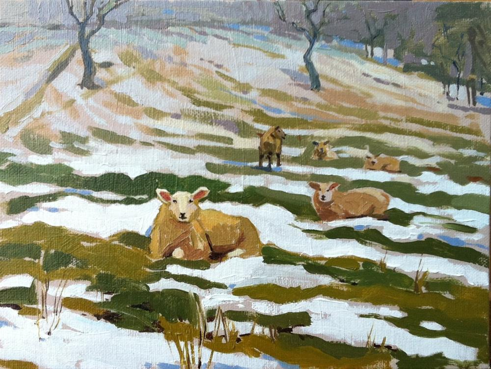 """""""Sheep in melting snow"""" original fine art by Haidee-Jo Summers ROI"""