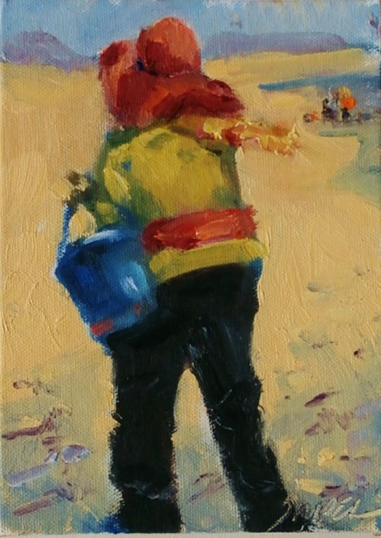 """""""Looking for Shells in February, Edisto Island"""" original fine art by Connie Snipes"""