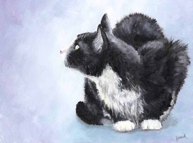 """Cat On Grey"" original fine art by Karen Robinson"