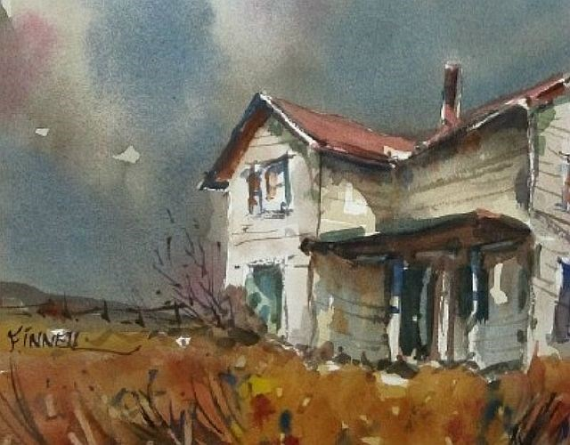 """""""Prairie Farmhouse"""" original fine art by David Finnell"""