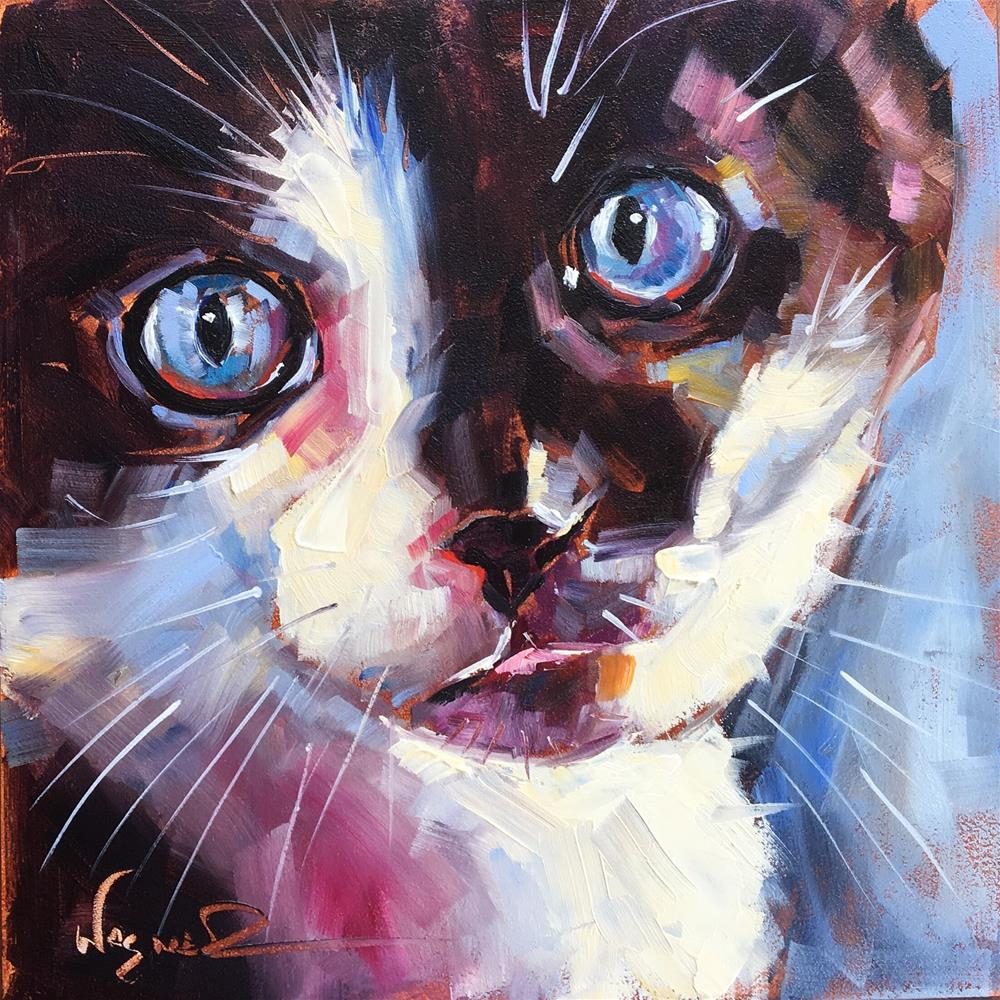 """LITTLE BLUE EYES"" original fine art by Olga Wagner"