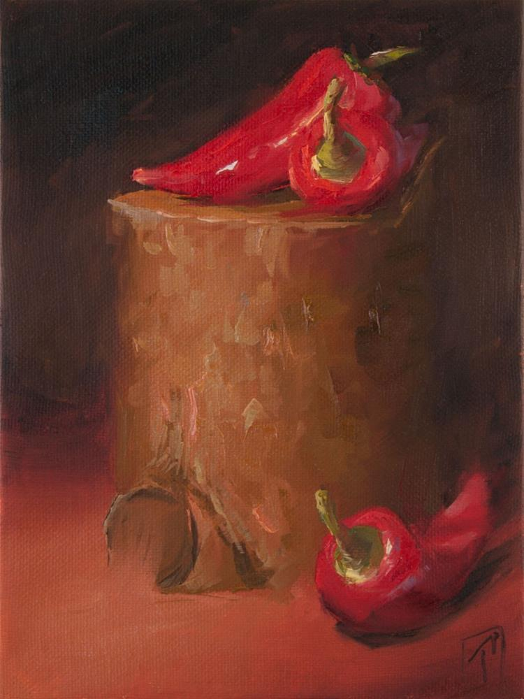 """Stump Studies Red Peppers"" original fine art by Lori Twiggs"