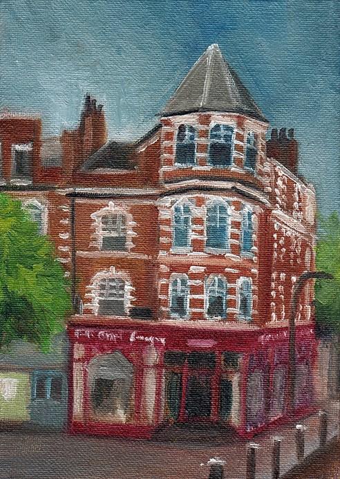 """Haverstock Hill, Hampstead"" original fine art by J M Needham"