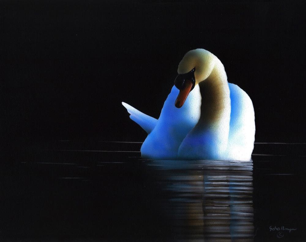 """""""Night Swan"""" original fine art by Fred Schollmeyer"""