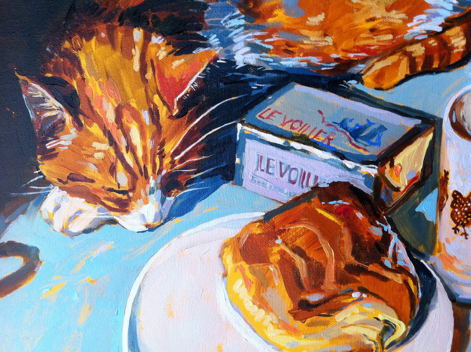 """""""Charlie and the pain au chocolat"""" original fine art by Haidee-Jo Summers ROI"""
