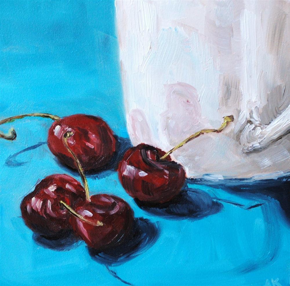 """Cherries and a White Mug"" original fine art by Alison Kolkebeck"