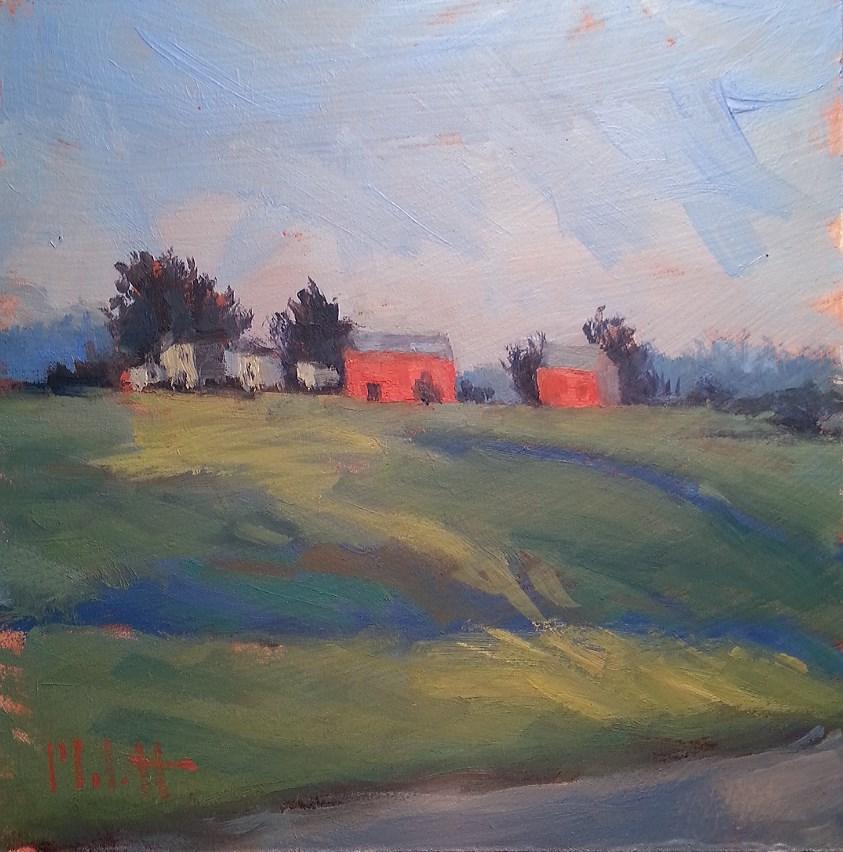 """Impressionism Rural Landscape Morning Light"" original fine art by Heidi Malott"