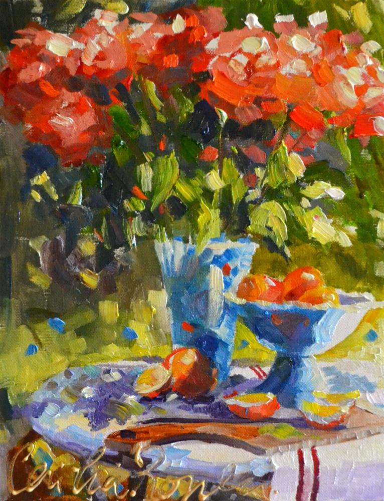 """""""ROSE TABLE"""" original fine art by Cecilia Rosslee"""