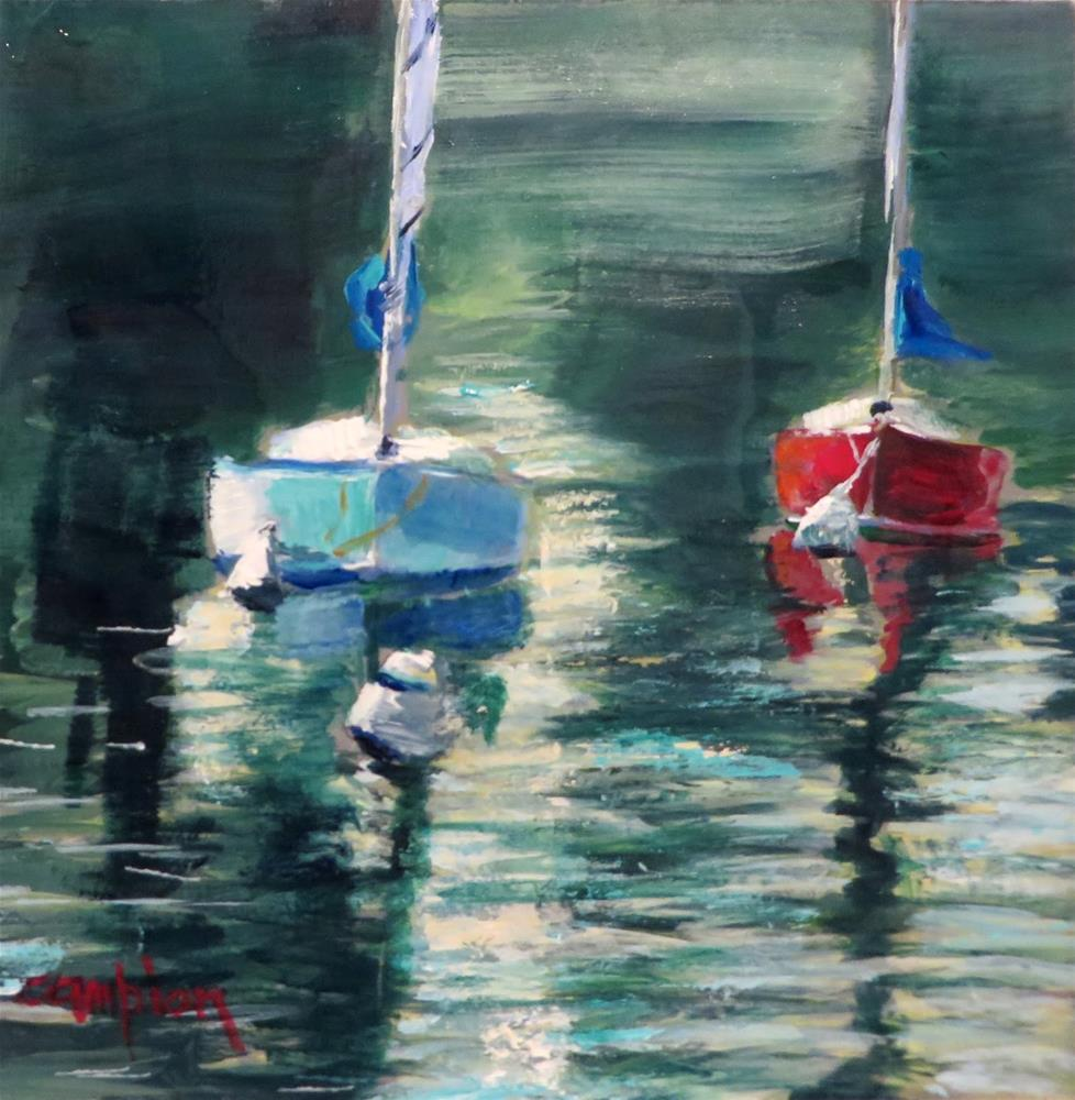"""""""644 Late Afternoon at the Harbor"""" original fine art by Diane Campion"""