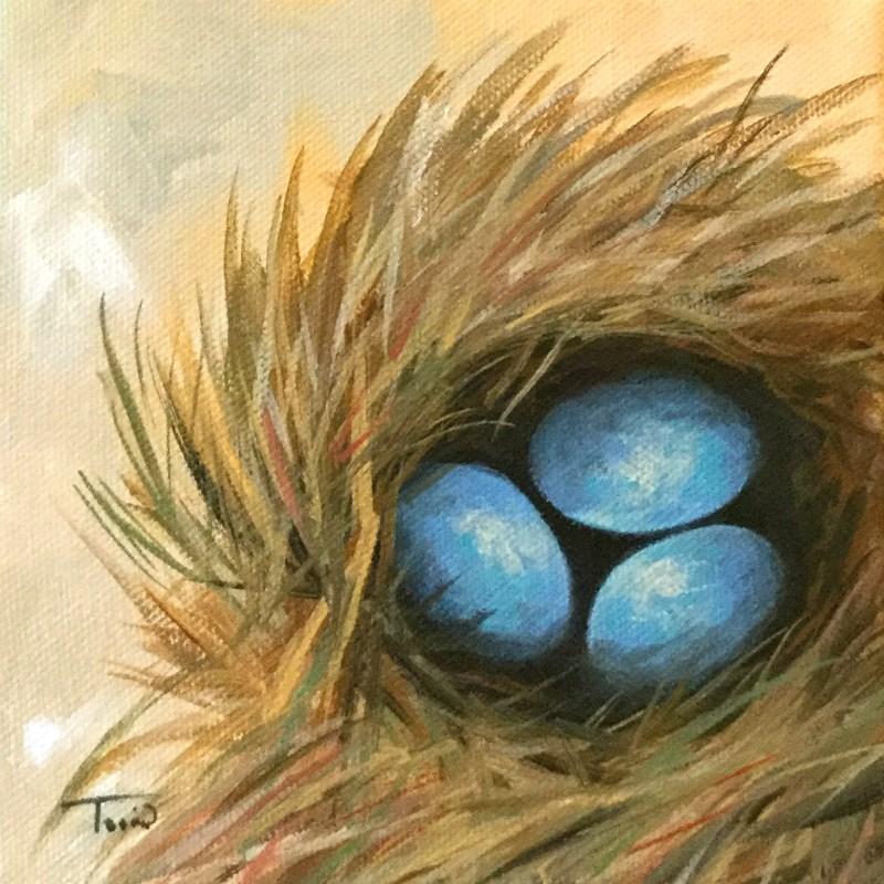 """Robin's Blue Eggs VII"" original fine art by Torrie Smiley"