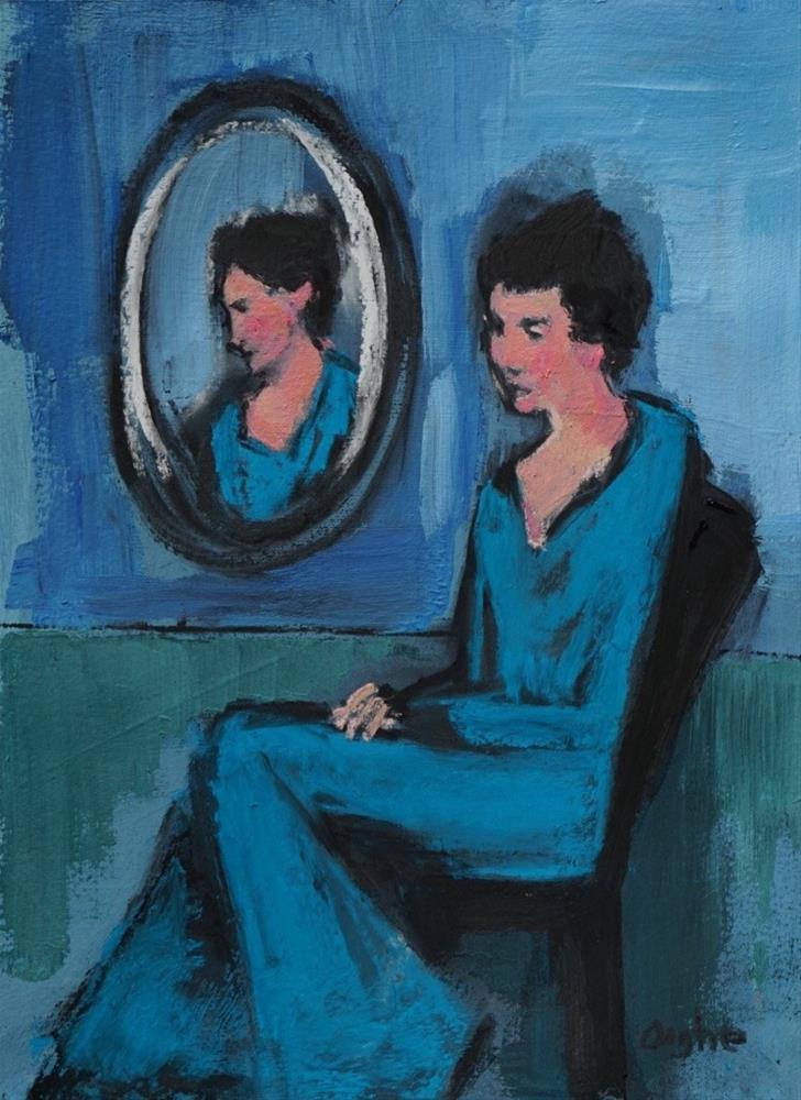 """Woman Beside Mirror"" original fine art by Angela Ooghe"