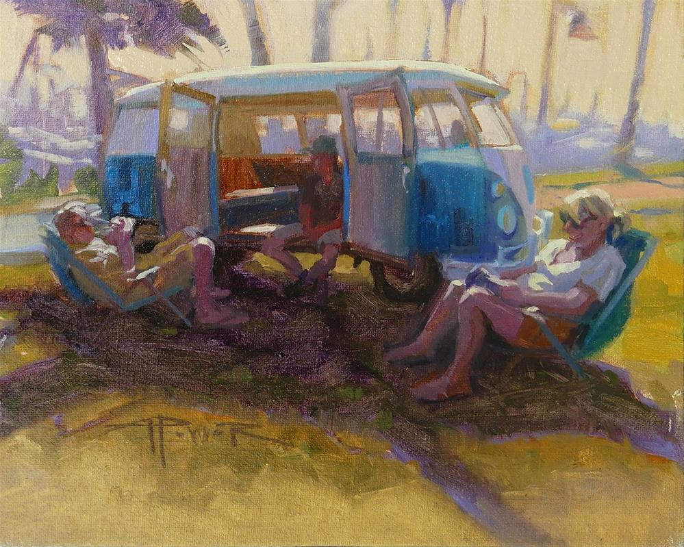 """""""Car Sketching - 6 of 30 - Harbor Hangout"""" original fine art by Anette Power"""