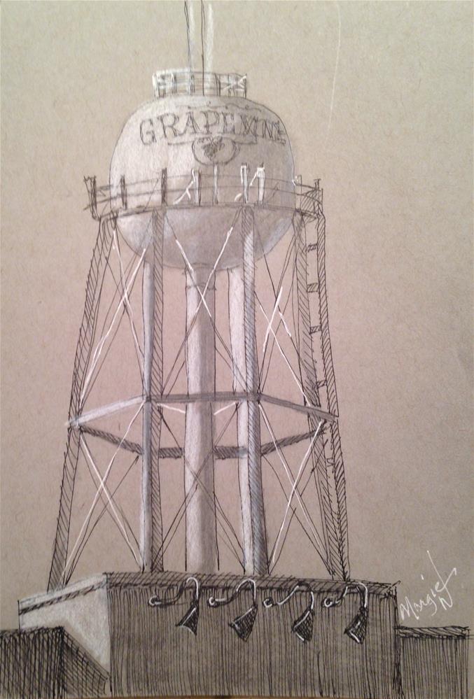 """Water tower"" original fine art by Margie Whittington"