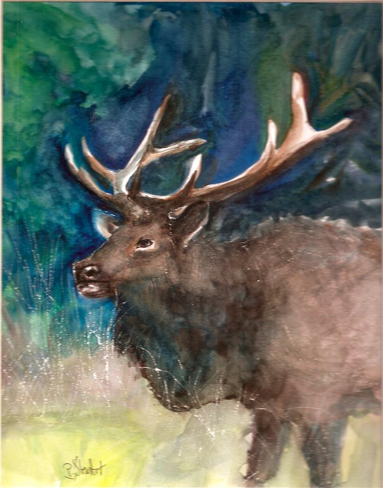 """""""8x10 Bull Elk Watercolor on Hot press paper Animal Portrait by Penny StewArt"""" original fine art by Penny Lee StewArt"""