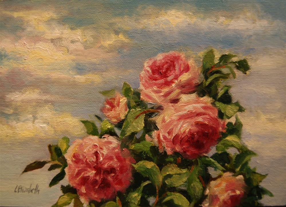 """Sketch of Pink Roses II,  Oil on 5x7 Linen Panel"" original fine art by Carolina Elizabeth"