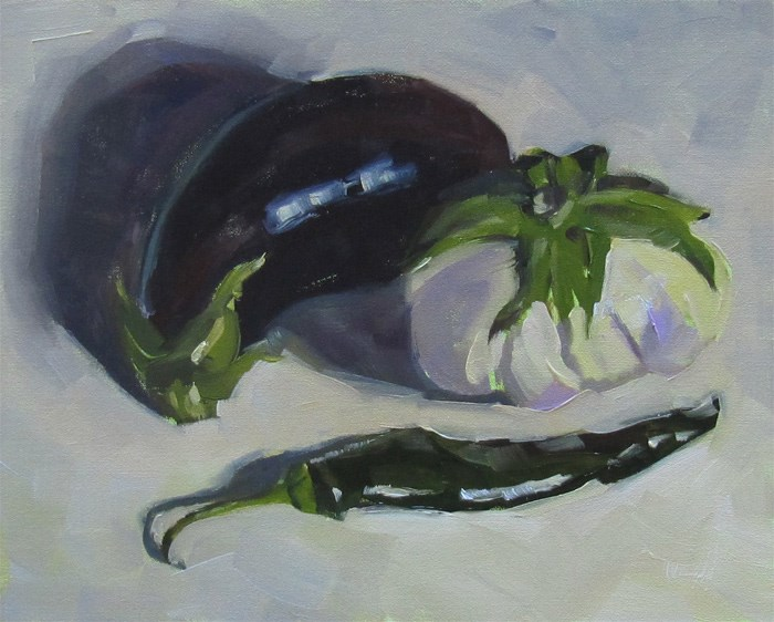 """Eggplants and Pepper"" original fine art by Katia Kyte"