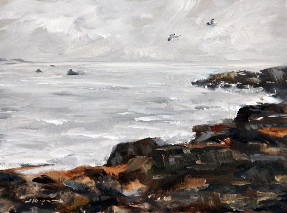 """""""Rocks, Clouds, and Sea"""" original fine art by Shelley Koopmann"""