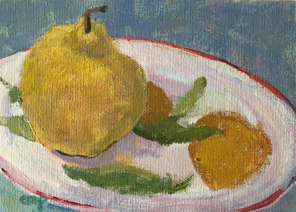 """""""Still life with Pear"""" original fine art by Christine Parker"""