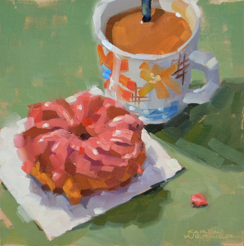 """Crueller, Coffee & Cream"" original fine art by Karen Werner"