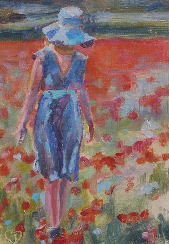 """""""Lady walking in flowers, Original oil"""" original fine art by Carol DeMumbrum"""