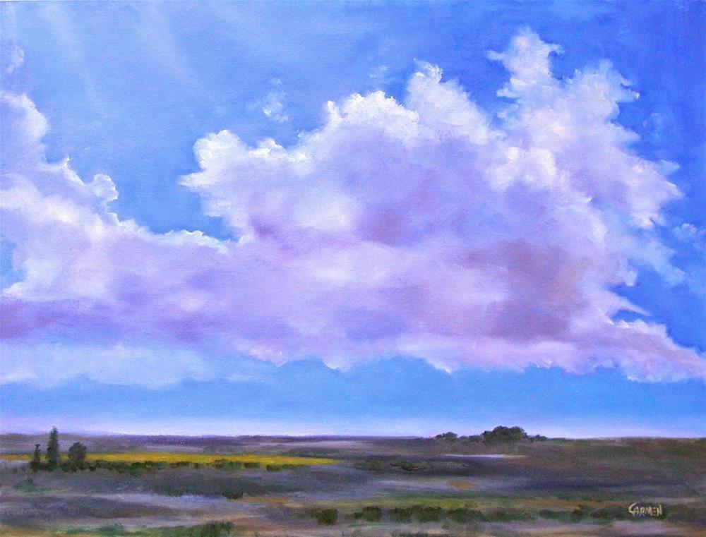 """""""Clouds in Landscape, 24x18 Oil Painting"""" original fine art by Carmen Beecher"""