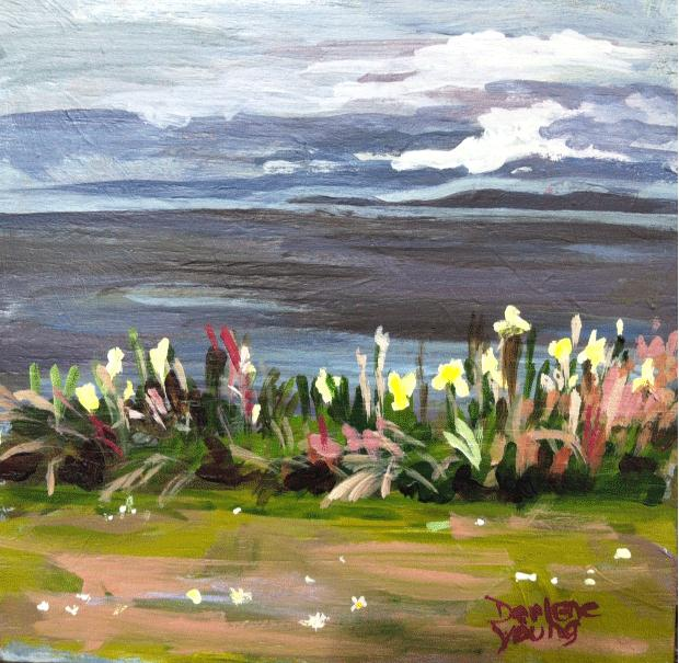 """""""Saxe Point, acrylic on cradled panel, 6x6in"""" original fine art by Darlene Young"""