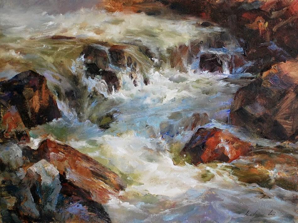 """River Series  1"" original fine art by Kelvin Lei"