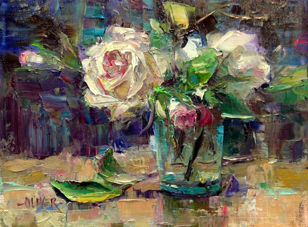 """""""Roses in a Water Glass."""" original fine art by Julie Ford Oliver"""