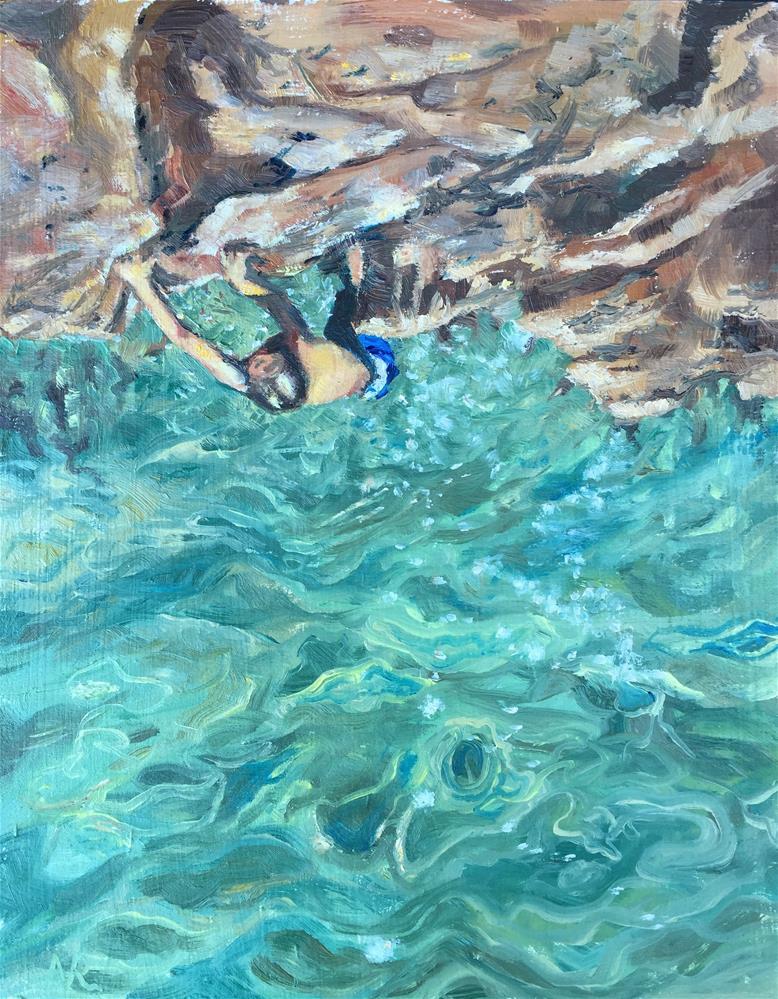 """Scaling sea rocks"" original fine art by Natasha Ramras"