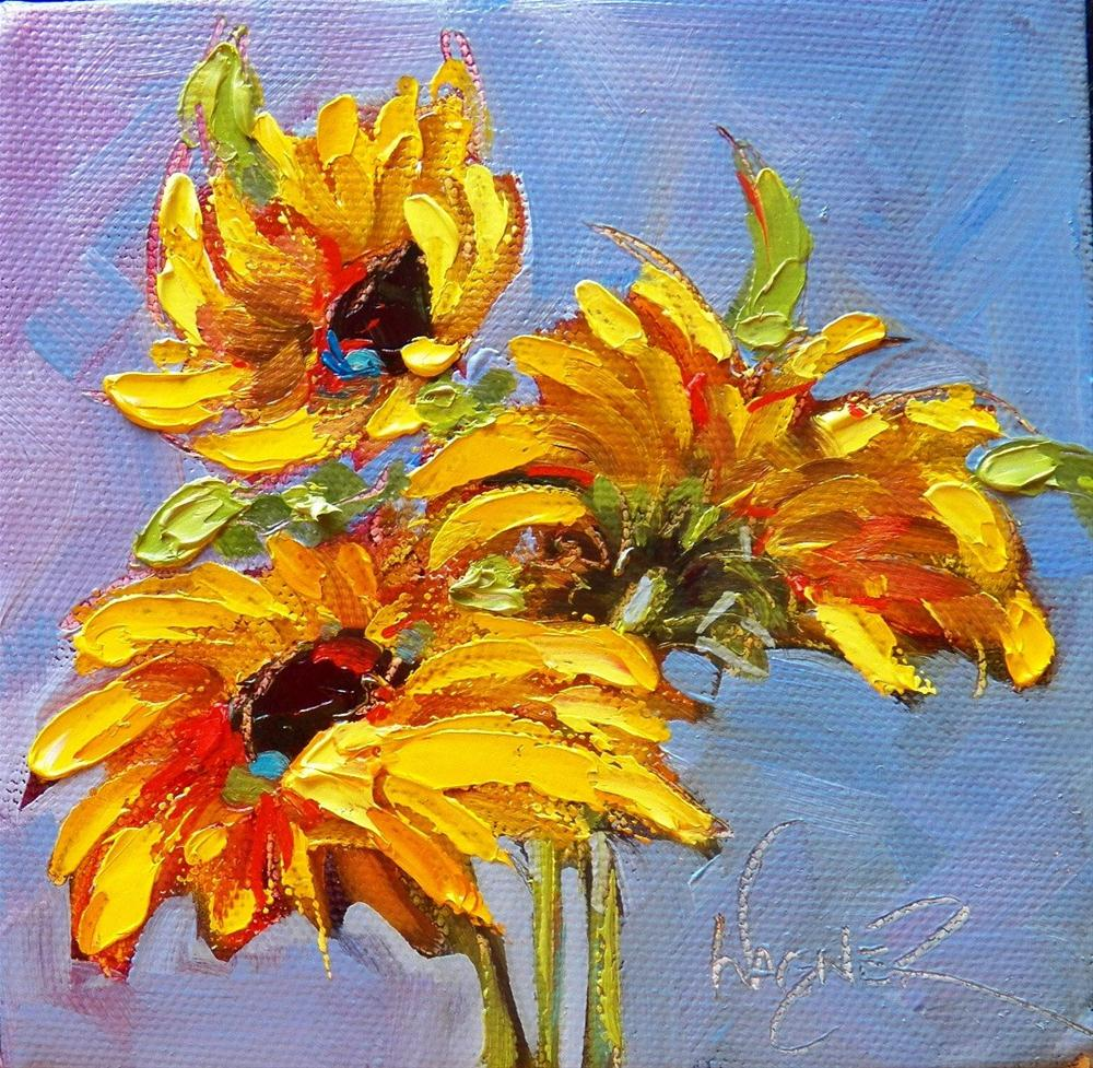 """""""SUNFLOWERS #6 and #7"""" original fine art by Olga Wagner"""