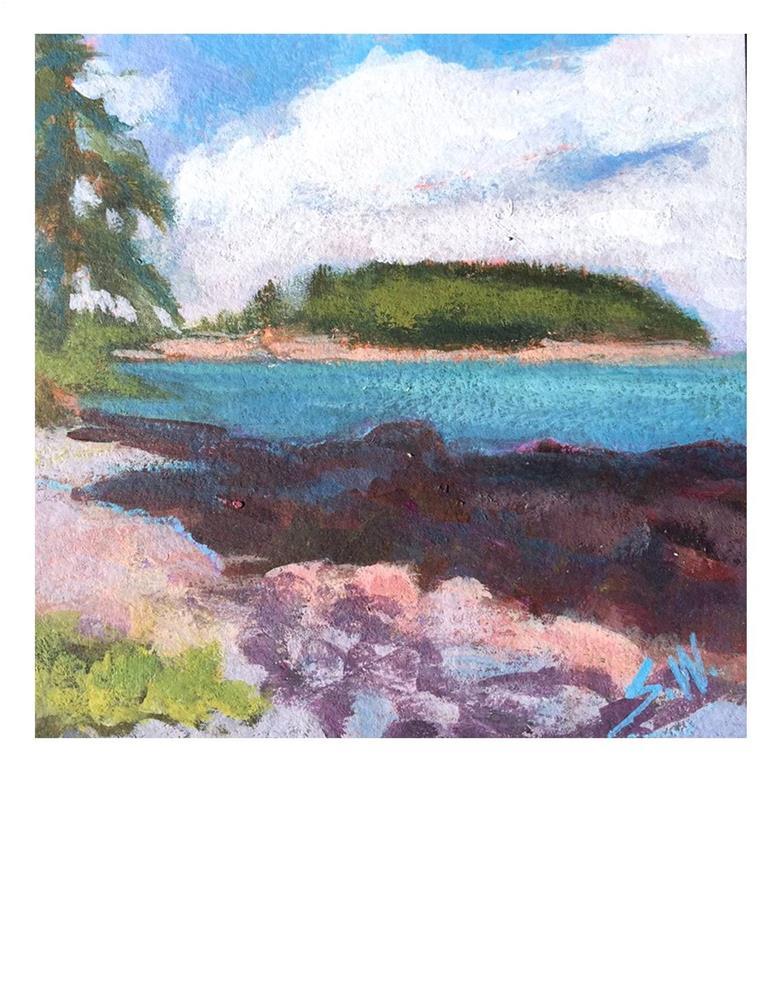 """Cloud, Island, Rocks"" original fine art by Suzanne Woodward"