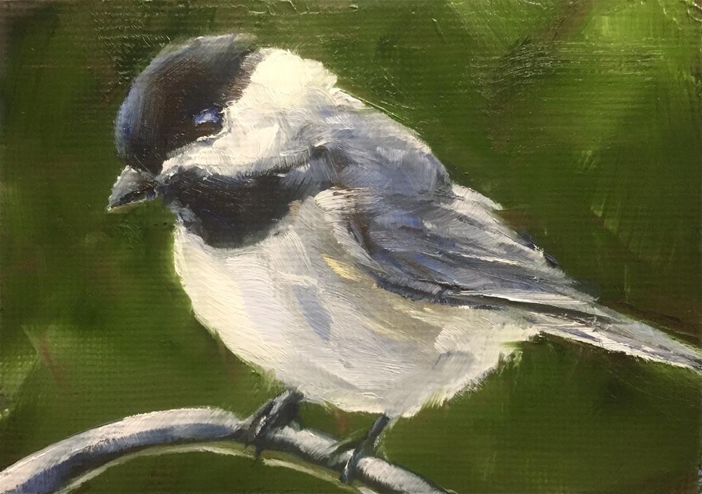 """Chickadee in the Garden"" original fine art by Gary Bruton"