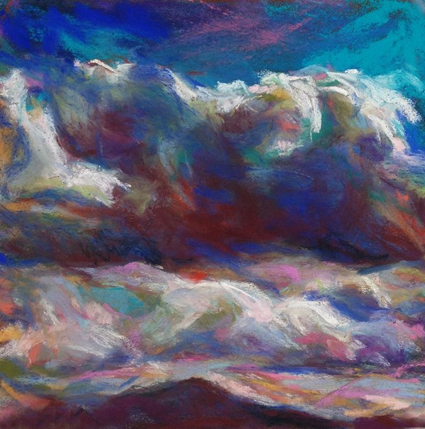 """WEIGHT - 6 x 6 skyscape pastel by Susan Roden"" original fine art by Susan Roden"