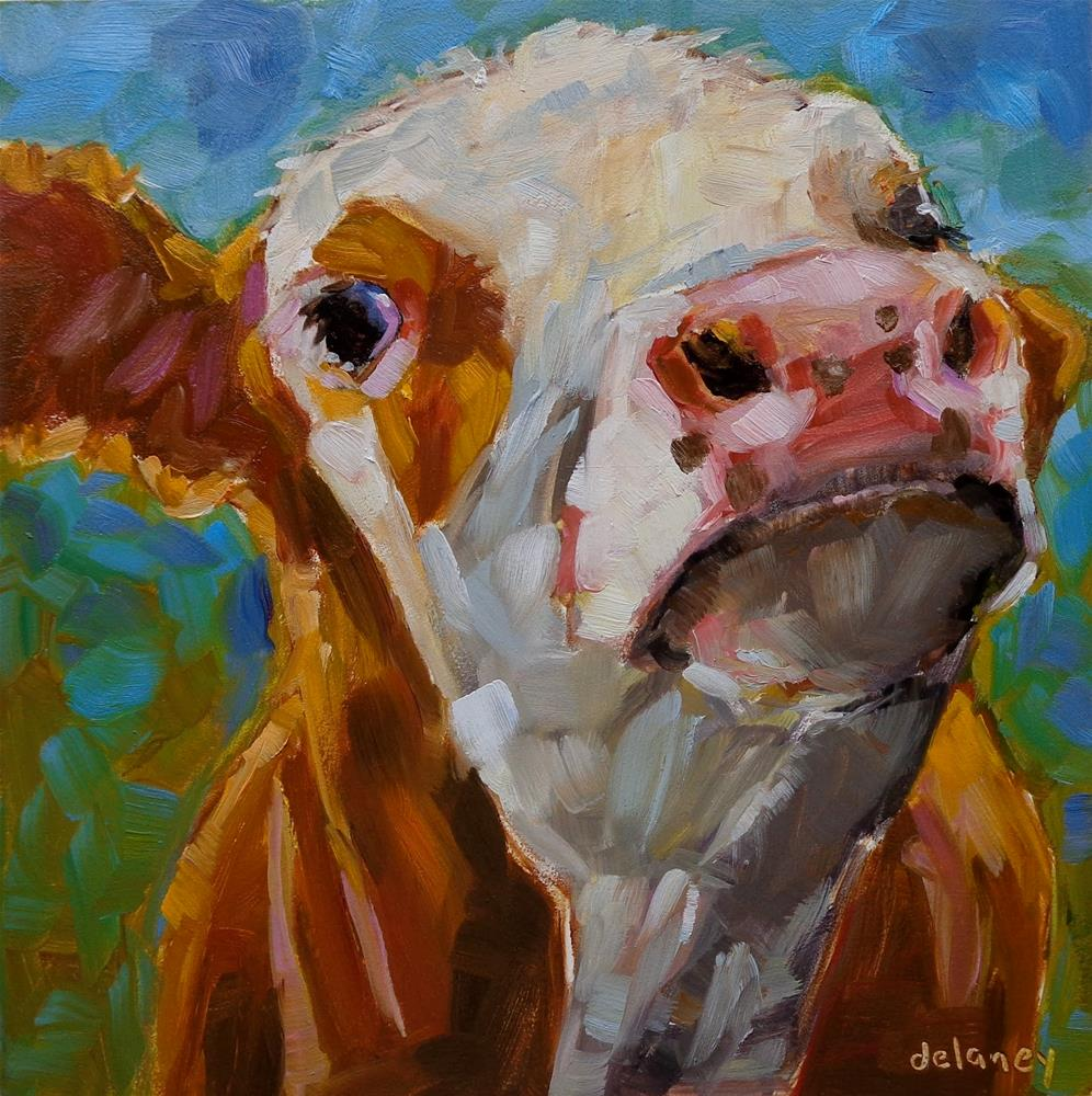"""""""Cow 137 HERE'S LOOKING AT YOU"""" original fine art by Jean Delaney"""