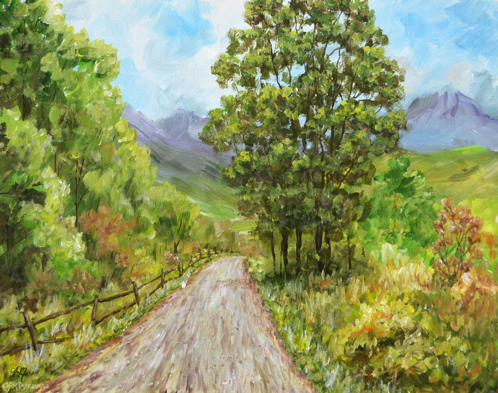 """Down That Country Road"" original fine art by Gloria Ester"