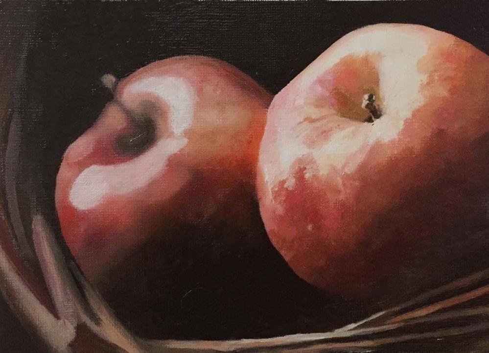 """Two Apples"" original fine art by John Cameron"