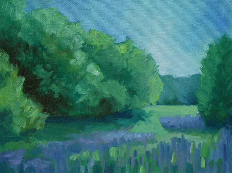 """Meadow With Purple Flowers"" original fine art by J M Needham"