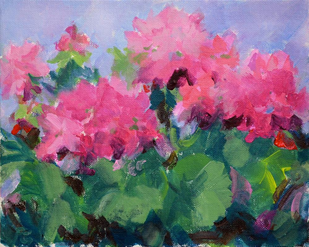 """Pink Patio Geraniums"" original fine art by Pamela Gatens"