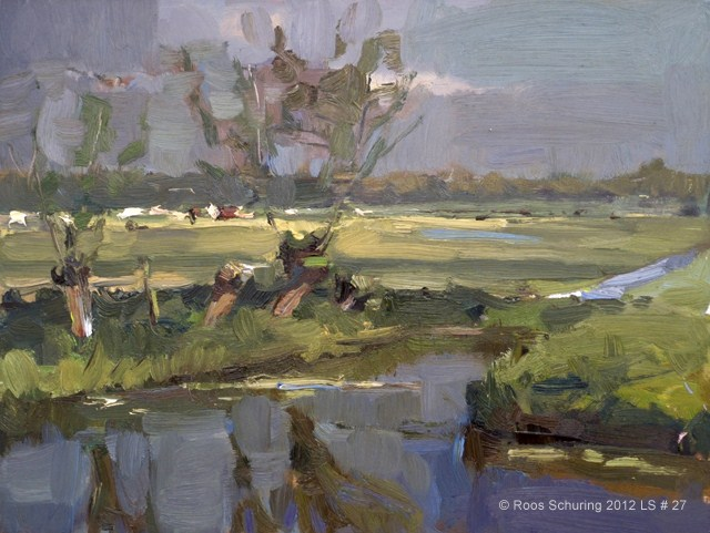 """Landscape spring #27 Willows ditch / cows in the distance - Wilgen en koeien"" original fine art by Roos Schuring"
