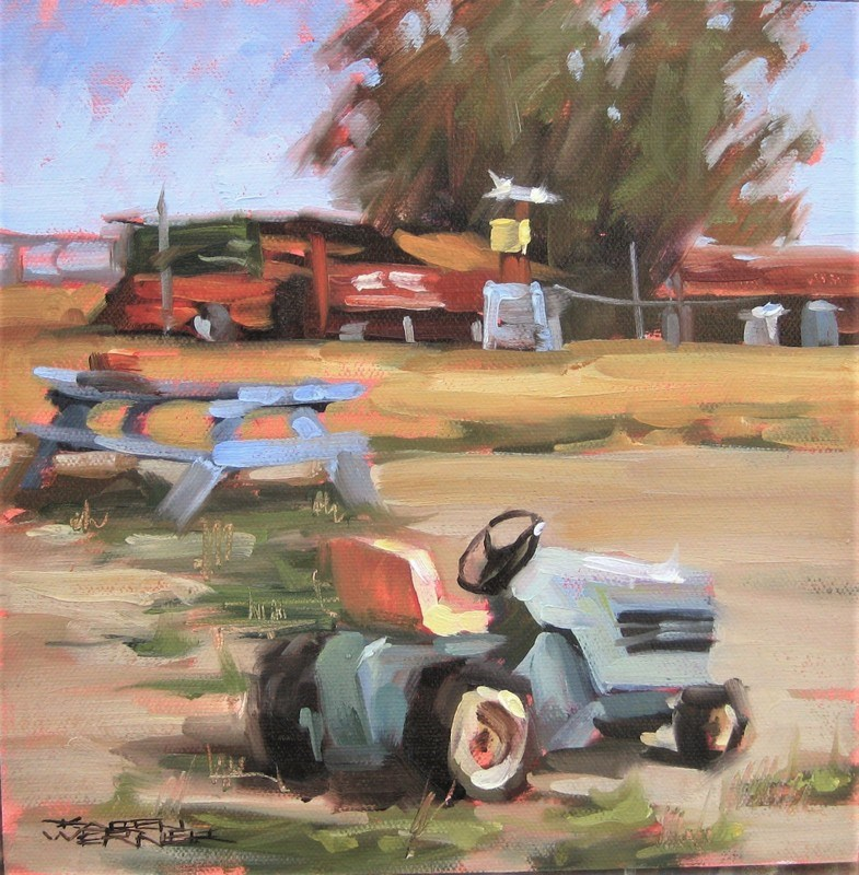 """Toy Tractor"" original fine art by Karen Werner"