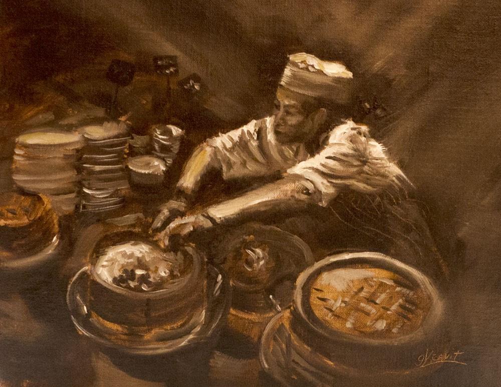 """""""Hong Kong Breakfast"""" original fine art by Garry Kravit"""