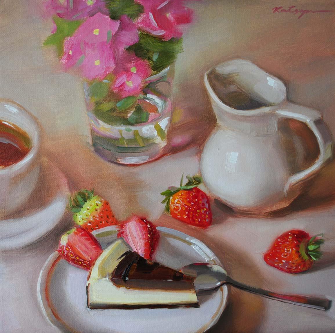 """""""Chocolate Cheesecake"""" original fine art by Elena Katsyura"""